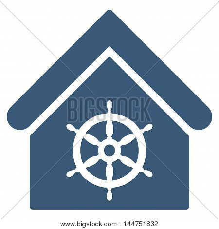 Steering Wheel House icon. Vector style is flat iconic symbol, blue color, white background.