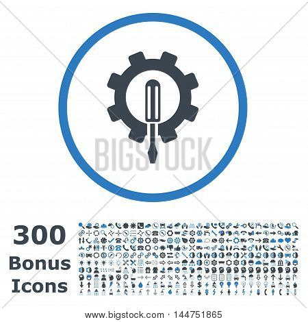 Engineering rounded icon with 300 bonus icons. Vector illustration style is flat iconic bicolor symbols, smooth blue colors, white background.