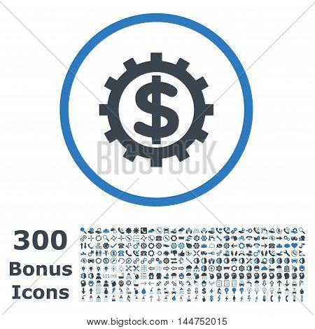 Financial Industry rounded icon with 300 bonus icons. Vector illustration style is flat iconic bicolor symbols, smooth blue colors, white background.