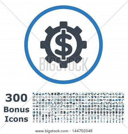 Financial Options rounded icon with 300 bonus icons. Vector illustration style is flat iconic bicolor symbols, smooth blue colors, white background.