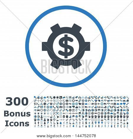 Financial Settings rounded icon with 300 bonus icons. Vector illustration style is flat iconic bicolor symbols, smooth blue colors, white background.