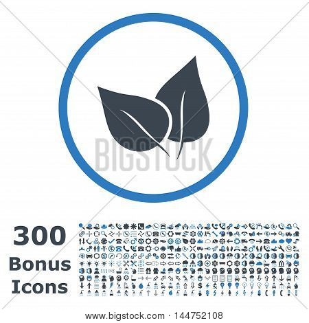 Flora Plant rounded icon with 300 bonus icons. Vector illustration style is flat iconic bicolor symbols, smooth blue colors, white background.
