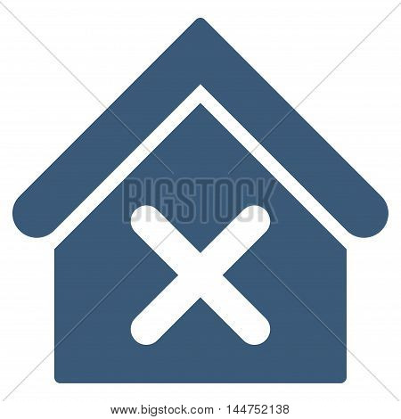 Wrong House icon. Vector style is flat iconic symbol, blue color, white background.
