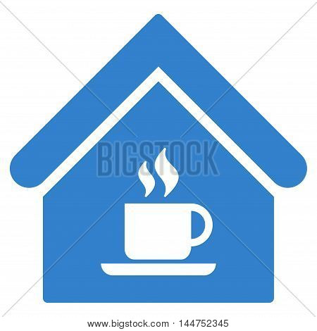 Cafe House icon. Vector style is flat iconic symbol, cobalt color, white background.