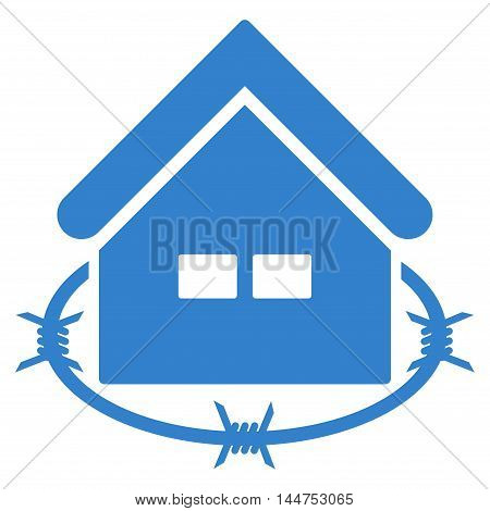 Prison Building icon. Vector style is flat iconic symbol, cobalt color, white background.