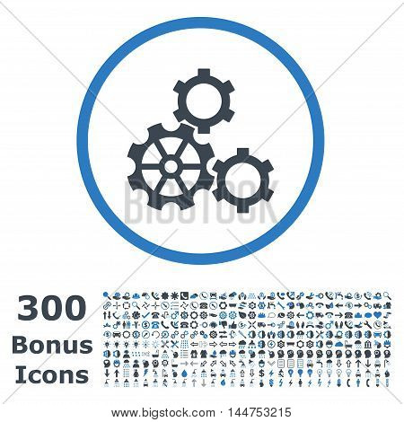 Gears rounded icon with 300 bonus icons. Vector illustration style is flat iconic bicolor symbols, smooth blue colors, white background.
