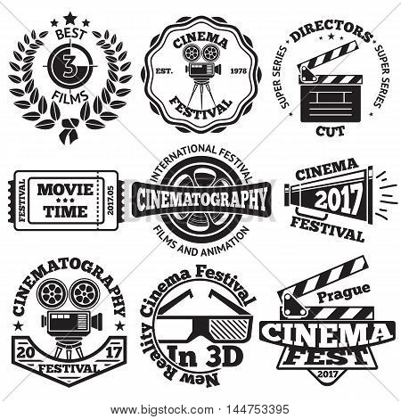 Set of Cinema badges with camera, clapboard, ticket etc. Vector illustration