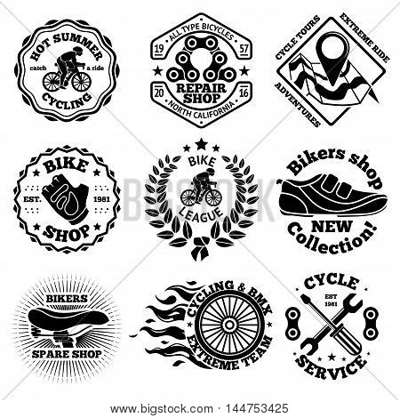 Bicycle vector set of labels, badges, logos etc