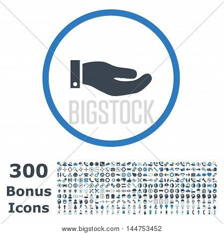 Hand rounded icon with 300 bonus icons. Vector illustration style is flat iconic bicolor symbols, smooth blue colors, white background.