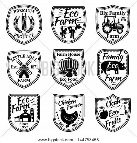 Farm labels vector set. With fruits, vegetables, animals, mill barn wheat tractor