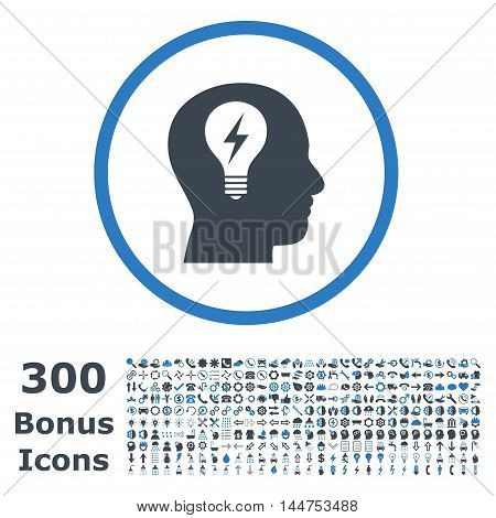 Head Bulb rounded icon with 300 bonus icons. Vector illustration style is flat iconic bicolor symbols, smooth blue colors, white background.