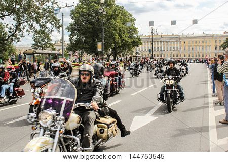 St. Petersburg, Russia - 13 August, Spectators parade Harley Davidson,13 August, 2016. The annual International Motor Festival Harley Davidson in St. Petersburg.