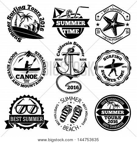 Set of summer travel labels with surfing, canoe, anchor, sunglasses, palms etc. Vector illustration
