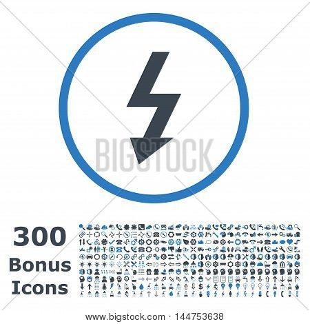 High Voltage rounded icon with 300 bonus icons. Vector illustration style is flat iconic bicolor symbols, smooth blue colors, white background.