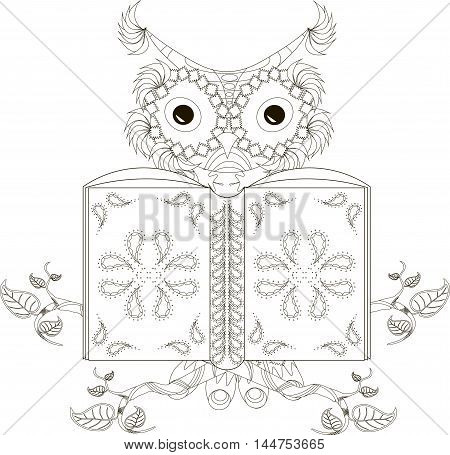 Stylized black and white reading owl, hand drawn, vector illustration