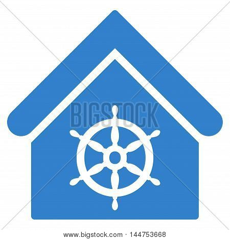 Steering Wheel House icon. Vector style is flat iconic symbol, cobalt color, white background.