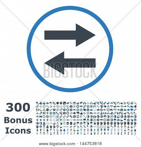 Horizontal Flip Arrows rounded icon with 300 bonus icons. Vector illustration style is flat iconic bicolor symbols, smooth blue colors, white background.