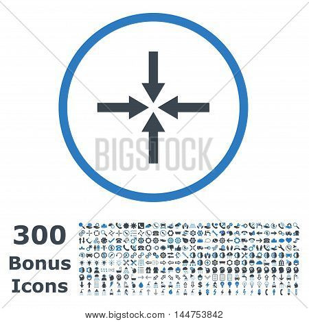 Impact Arrows rounded icon with 300 bonus icons. Vector illustration style is flat iconic bicolor symbols, smooth blue colors, white background.
