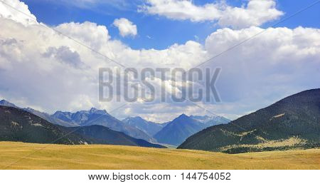 Beautiful Absaroka Mountains can be seen from the floor of Paradise Valley in Montana.
