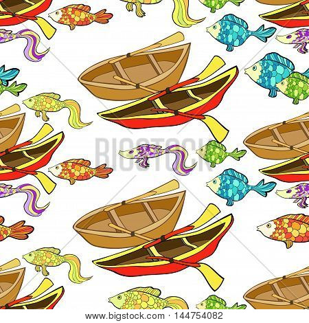 Seamless Pattern Of Boat, Fish. Vector Illustration