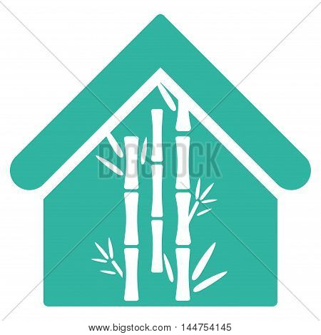 Bamboo House icon. Vector style is flat iconic symbol, cyan color, white background.