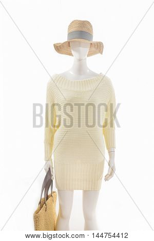 female clothing with hat,bag on mannequin