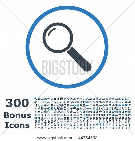 Magnifier rounded icon with 300 bonus icons. Vector illustration style is flat iconic bicolor symbols, smooth blue colors, white background.