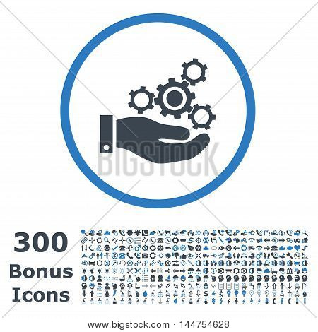 Mechanics Service rounded icon with 300 bonus icons. Vector illustration style is flat iconic bicolor symbols, smooth blue colors, white background.