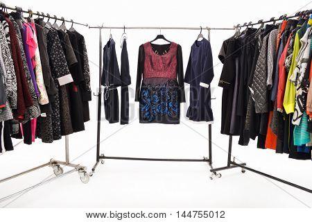 female clothing on hanging