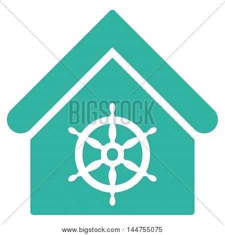 Steering Wheel House icon. Vector style is flat iconic symbol, cyan color, white background.