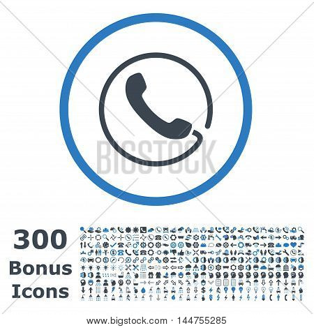 Phone rounded icon with 300 bonus icons. Vector illustration style is flat iconic bicolor symbols, smooth blue colors, white background.