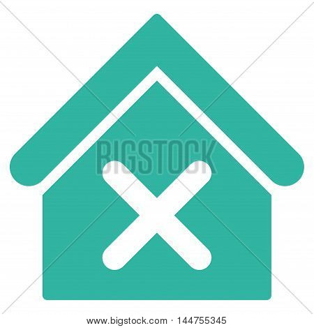 Wrong House icon. Vector style is flat iconic symbol, cyan color, white background.