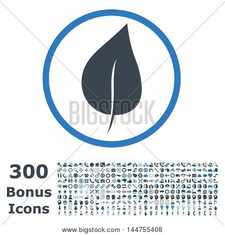 Plant Leaf rounded icon with 300 bonus icons. Vector illustration style is flat iconic bicolor symbols, smooth blue colors, white background.