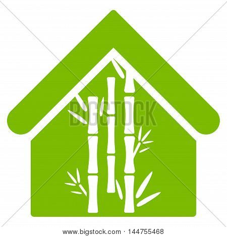 Bamboo House icon. Vector style is flat iconic symbol, eco green color, white background.