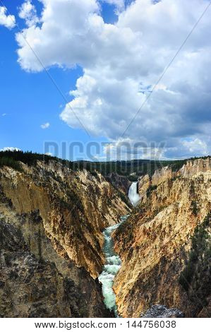 Steep canyon walls frame the Yellowstone Rivein