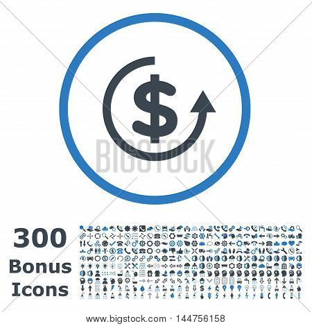 Refund rounded icon with 300 bonus icons. Vector illustration style is flat iconic bicolor symbols, smooth blue colors, white background.