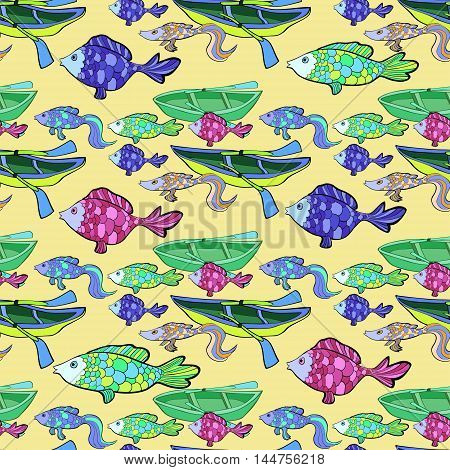 Seamless Pattern Of Boat, Fishing On A Yellow Background Vector Illustration