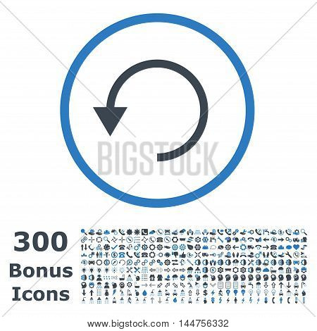 Rotate Ccw rounded icon with 300 bonus icons. Vector illustration style is flat iconic bicolor symbols, smooth blue colors, white background.