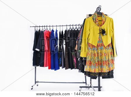female dress and sundress isolated on hanging