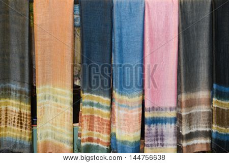Range of colorful sarongs in the shop