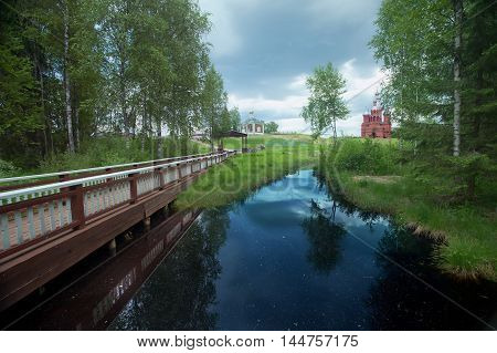 Source of Volga. Russian river. Tver region