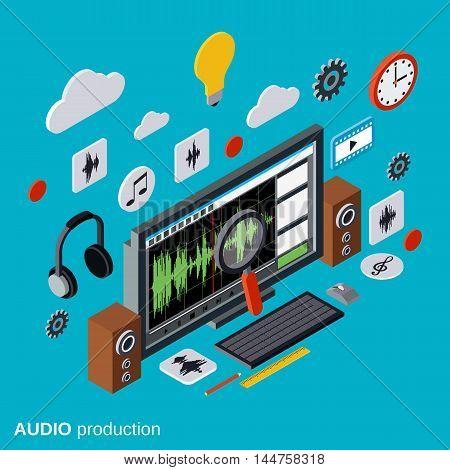 Audio production, montage flat 3d isometric vector concept