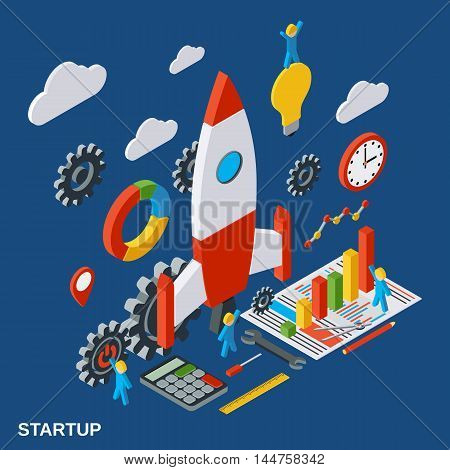 Business startup, innovation flat isometric vector concept