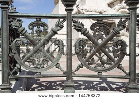 LISBON, PORTUGAL - October 15, 2015: Detail of the balustrade of base of the monument to the Marquis of Pombal on October 15, 2015 in Lisbon, Portugal