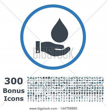 Water Service rounded icon with 300 bonus icons. Vector illustration style is flat iconic bicolor symbols, smooth blue colors, white background.