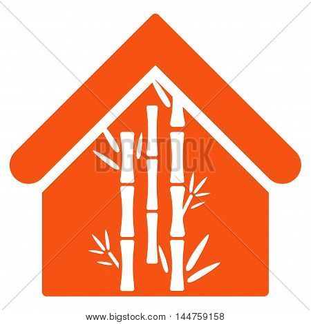 Bamboo House icon. Vector style is flat iconic symbol, orange color, white background.
