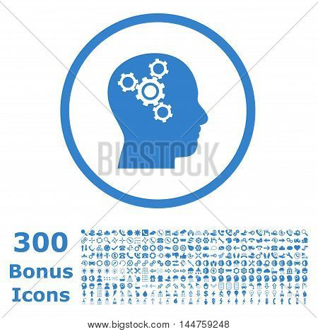 Brain Mechanics rounded icon with 300 bonus icons. Vector illustration style is flat iconic symbols, cobalt color, white background.