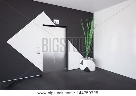 Side view of elevator and decorative plant in concrete interior with patterned walls