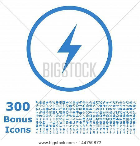Electricity rounded icon with 300 bonus icons. Vector illustration style is flat iconic symbols, cobalt color, white background.