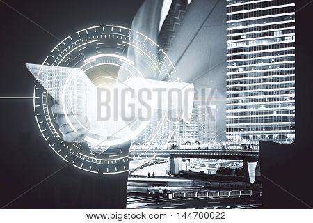 Businessman using tablet with digital pattern on abstract city background. Double exposure
